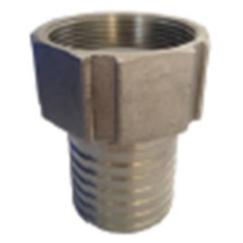 Накрайник с тръбна цолова резба с гайка - неръжд. стомана AISI 316