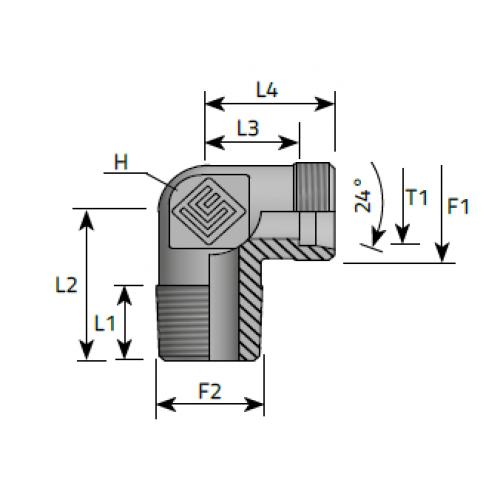 Коляно крайно, метрична конусна към метрична резба DIN 2353 - конус 24°