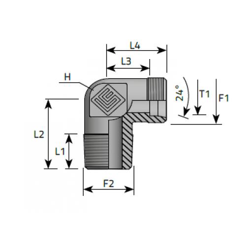 Коляно крайно, тръбна конусна към метрична резба DIN 2353 - конус 24°