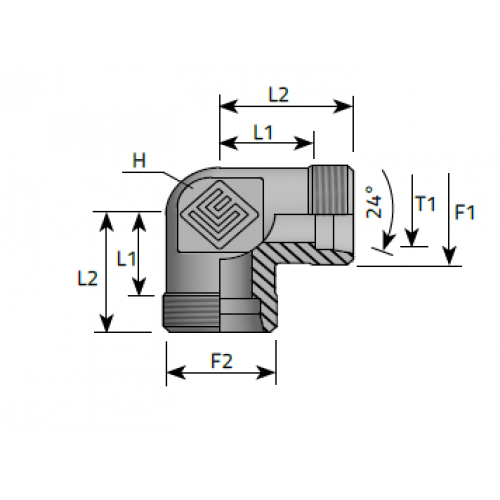 Коляно, мъжки метрични резби DIN 2353 - конус 24°