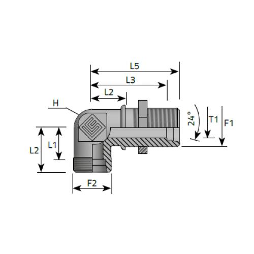 Коляно преграда с контра гайка, метрична резба DIN 2353 - конус 24°