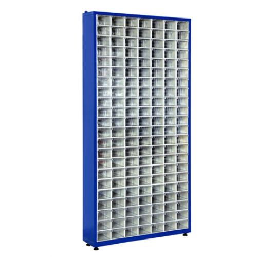 Метален стелаж със 154 кутии за съхранение на накрайници TMD 120