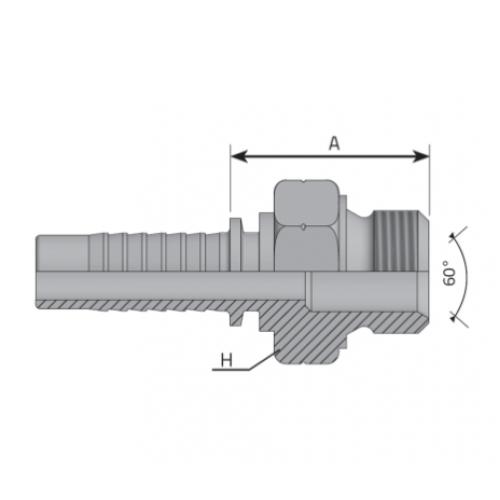 Мъжки накрайник AGM с метрична резба, вътрешен конус 60°