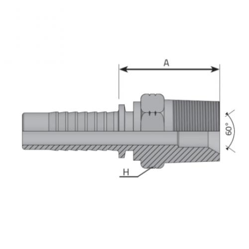 Мъжки накрайник AGN с конусна резба NPT, вътрешен конус 60°