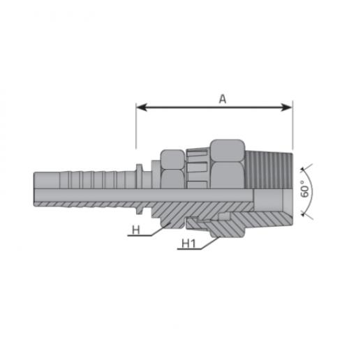 Мъжки накрайник - безконечно въртящ AGN с конусна резба NPT, вътрешен конус 60°