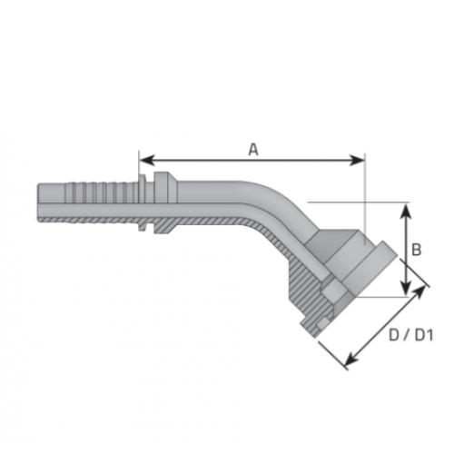 Накрайник фланцови SFL 45, лека серия, коляно 45°