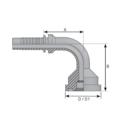 Накрайник фланцови SFL 90, лека серия, коляно 90°