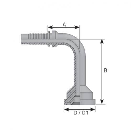 Накрайник фланцови SFL 90, лека серия, коляно 90°, дълго рамо