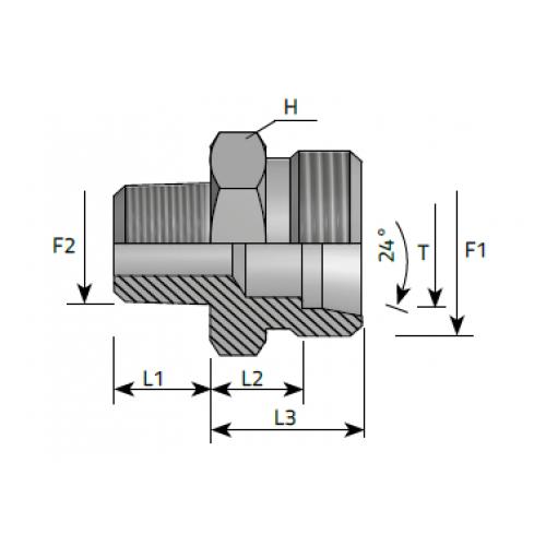 Нипел краен, цолова към метрична резба DIN 2353 - конус 24°