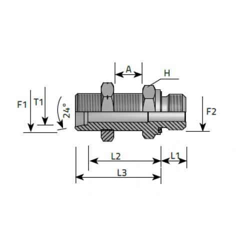 Нипел краен преграда с контра гайка, цолова към метрична резба DIN 2353 - конус 24°