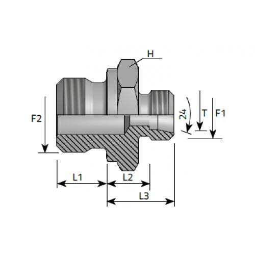 Нипел краен, тръбна конусна към метрична резба DIN 2353 - конус 24°