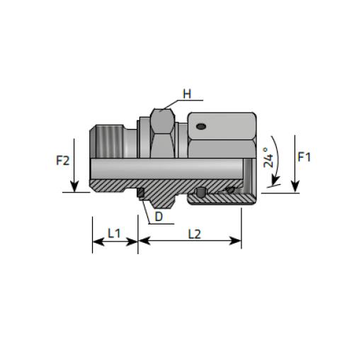 Нипел краен за ориентиране, цолова към метрична резба DIN 2353 - конус 24°