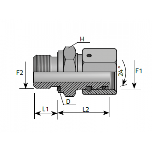 Нипел краен за ориентиране, метрична резба DIN 2353 - конус 24°