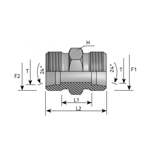 Нипел междинен, метрична резба, DIN 2353 - конус 24°