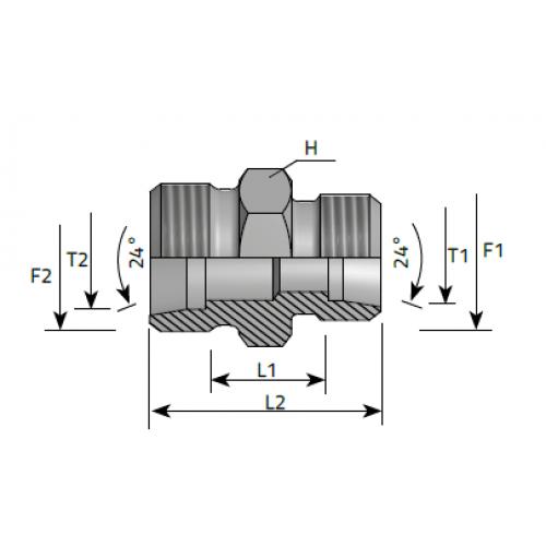 Нипел редуктивен, метрична резба DIN 2353 - конус 24°