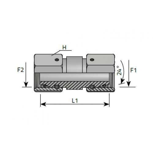 Нипел за ориентиране с две гайки, резба DIN 2353 - конус 24°