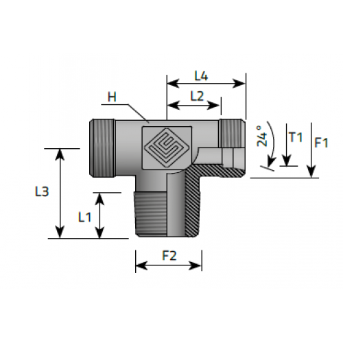 Трипътник краен в средата, цолова към метрична резба DIN 2353 - конус 24°