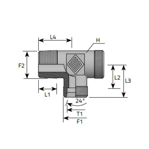 Трипътник краен в страни, цолова към метрична резба DIN 2353 - конус 24°